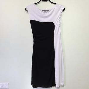 Connected apparel dress black & white rouched